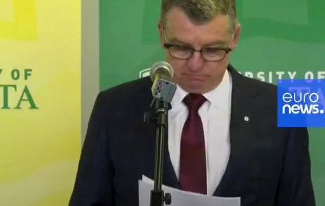 گریه رئیس دانشگاه آلبرتا هنگام خواندن پیام تسلیت هواپیمای اوکراینی